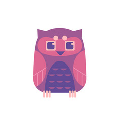 cute sitting owl - wild predator bird with funny vector image