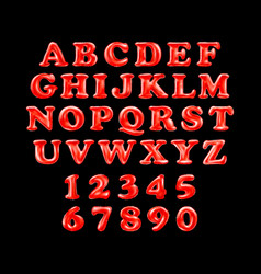 english alphabet from red balloons on a black vector image