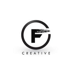 F brush letter logo design creative brushed vector
