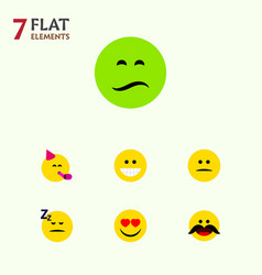 flat icon face set of love party time emoticon vector image