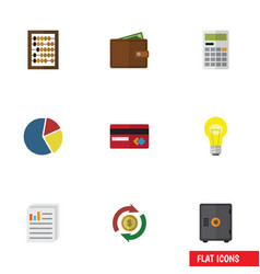 Flat icon gain set of billfold payment vector