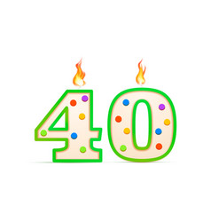 forty years anniversary 40 number shaped birthday vector image