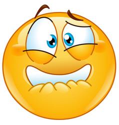 Frightened emoticon vector