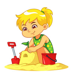 girl making sand castle vector image
