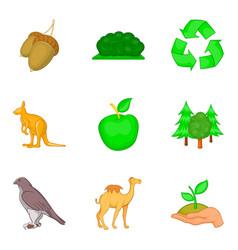 Green world icons set cartoon style vector