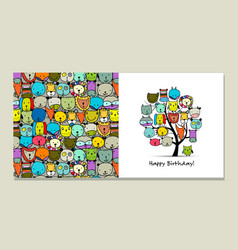 Greeting card design funny animals tree vector
