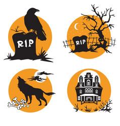 halloween set 4 vector image