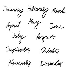 Hand drawn months of the year vector