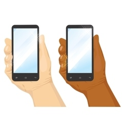 hand holding black vertical smartphone vector image