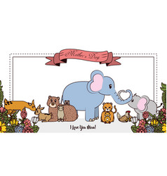Happy mothers day card with cute animals vector