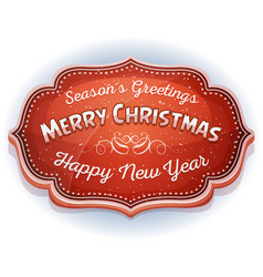 happy new year and seasons greetings badge vector image