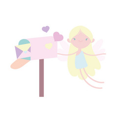 happy valentines day cute cupid with hearts and vector image