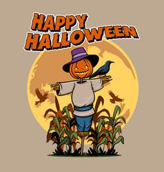 Headed pumpkin scarecrow vector