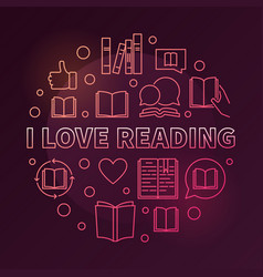 i love reading circular colorful outline vector image