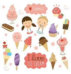 Ice Cream sweet collection vector image