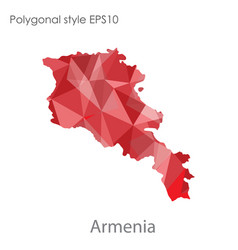 isolated icon armenia map polygonal geometric vector image