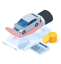 Isometric car protection insurance money vector
