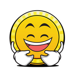 Laughing face coin cartoon character vector