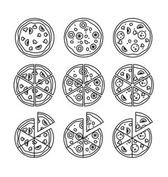 line pizza icons set vector image