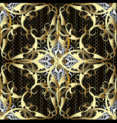 luxury gold 3d damask seamless pattern vector image