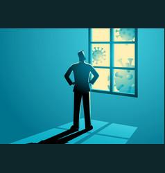Man figure looking through window vector