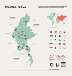Map myanmar country map with division cities vector