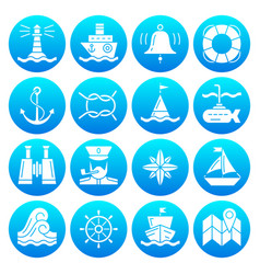 marine symbols nautical white silhouette icon set vector image