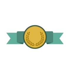 Medal with blue ribbon flat icon vector
