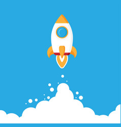 Minimalistic rocket launch flat icon rocket vector