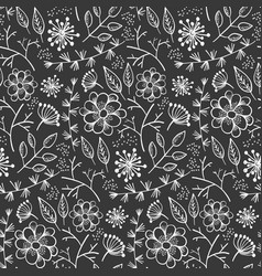 monochrome pattern with outline flowers and herbs vector image