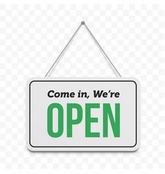 Open door sign we are hanging signboard vector