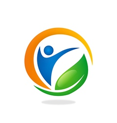 people health fitness spa vegetarian logo vector image