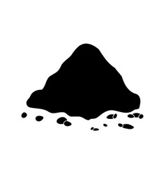 Pile of ground heap of soil - silhouette isolated vector