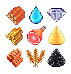 Pixel resources for games icons set vector
