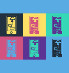 pop art buying drugs online on mobile phone icon vector image