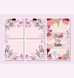 postcards save date flowers floral wedding vector image