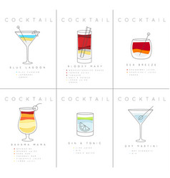 Poster cocktails blue lagoon vector