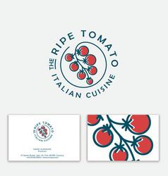 Ripe tomato logo concept restaurant pizzeria vector