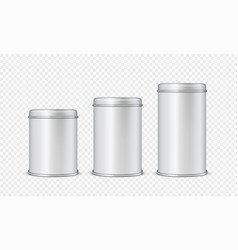 round white glossy tin can with lid for bamilk vector image