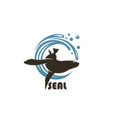 Sea seal emblem vector