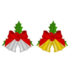 set of Christmas bells with holly vector image