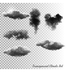 Set of transparent clouds and smoke vector