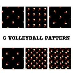 Set seamless pattern volleyball ball vector image