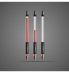 set transparent red gel pens vector image