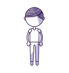 Shadow cute boy cartoon vector