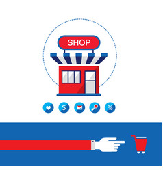 Shopping process shop buy and sell your products vector
