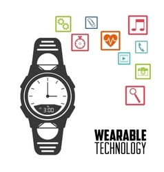 smart watch wearable technology social network vector image