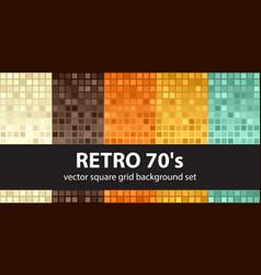 square pattern set retro 70s seamless tile vector image