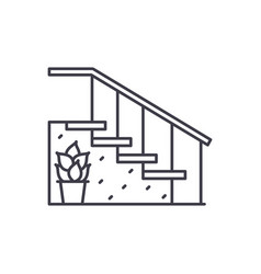 staircase at the entrance line icon concept vector image