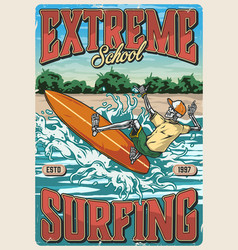 surfing school vintage colorful poster vector image